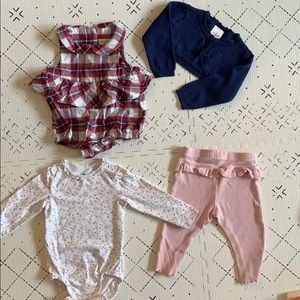 Baby girl 6-9 month matching sets, H&M, Cat&Jack